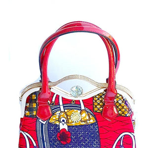 Designer African Print Top Handle Tote Red - Zabba Designs African Clothing Store