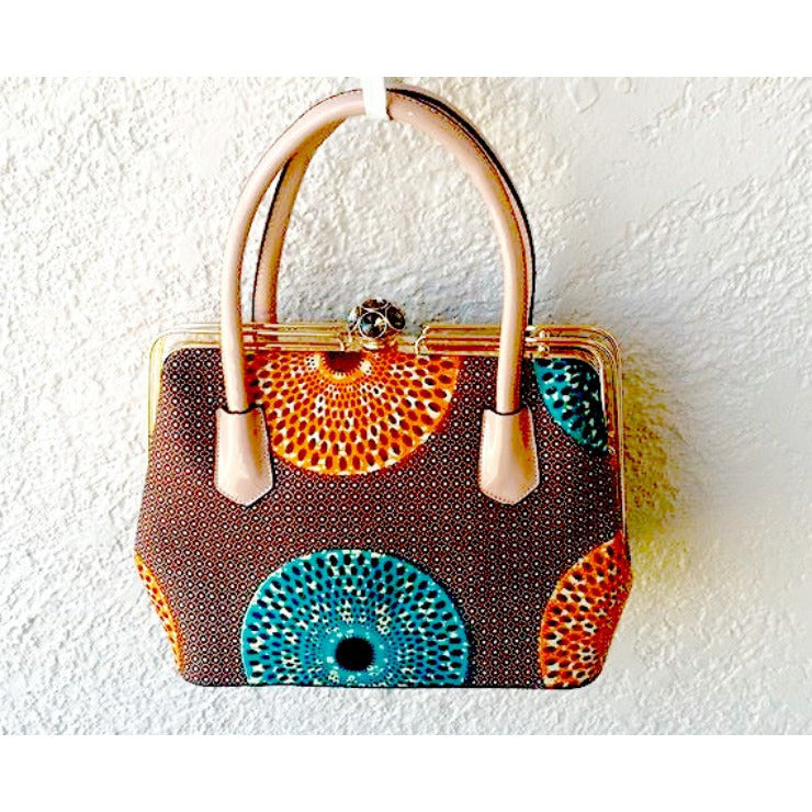 Gift For Her, Brown And Orange African Print Bag and Jewelry Set - Zabba Designs African Clothing Store