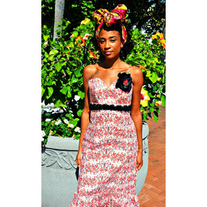 Lupito African Print Red And Black Maxi Dress - Zabba Designs African Clothing Store