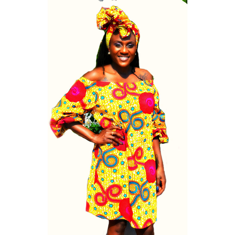 Jazzy African Print  Geometric Mini Dress - Zabba Designs African Clothing Store  - 1