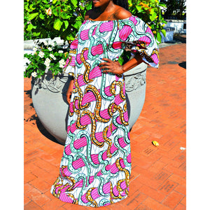 NIGHT GLOW African Print Balloon Maxi Dress - Zabba Designs African Clothing Store