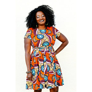 Chidi African Inspired Midi Dress - Zabba Designs African Clothing Store