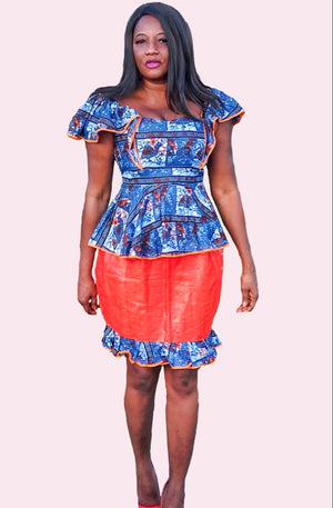 Tutu African Print Blue And Orange Skirt Suit