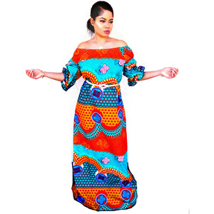 ZULU African Print Off Shoulder Balloon Maxi Dress - Zabba Designs African Clothing Store  - 1