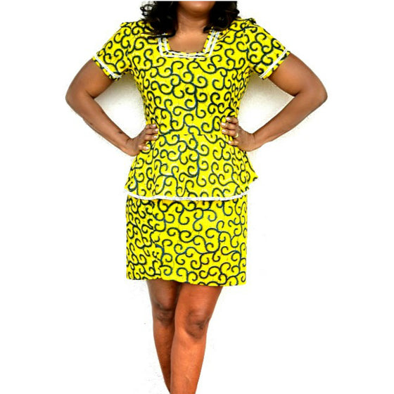 DELLE African Print Dress Suit - Zabba Designs African Clothing Store  - 1