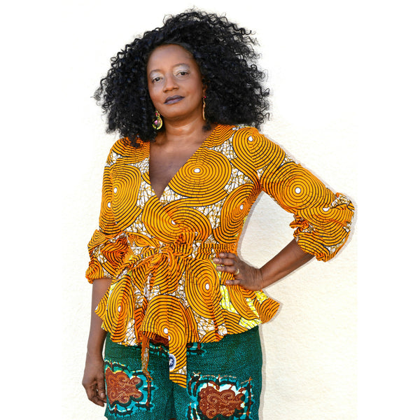 HATI African Print Peplum Top - Zabba Designs African Clothing Store  - 1