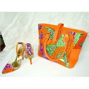 FARAJI Orange African Print Peep Toe Shoes And Bag Set - Zabba Designs African Clothing Store