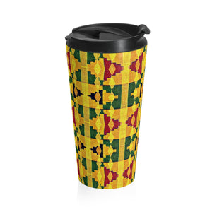 Yellow Kente Print Stainless Steel Travel Mug - Zabba Designs African Clothing Store