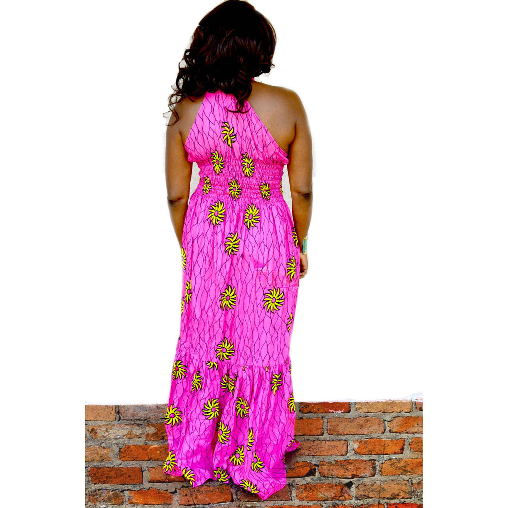Pink And Yellow African Print Dress - Zabba Designs African Clothing Store
