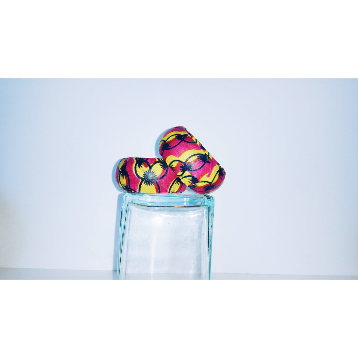 Pink And Yellow African Inspired Print Covered Bangles - Zabba Designs African Clothing Store