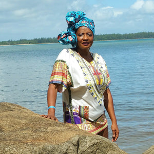 Macy Blue African Print Head wrap - Zabba Designs African Clothing Store