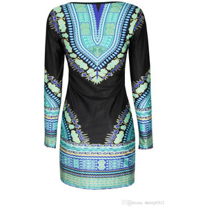 Nona Blue African Print  Dashiki Dress - Zabba Designs African Clothing Store