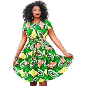 Zina African Print Midi Dress - Zabba Designs African Clothing Store