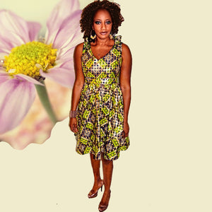 Midi Green And Gold African  Dress