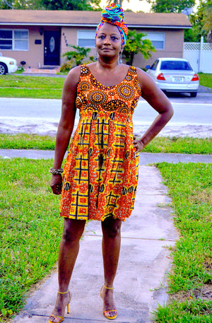 Saba African Midi Dress Orange - Zabba Designs African Clothing Store