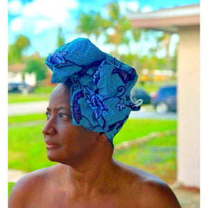 Blue African Headwrap Ghana - Zabba Designs African Clothing Store