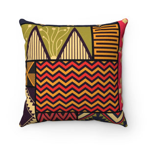 Brown African Print Geometric Angle Throw Suede Square Pillow Case