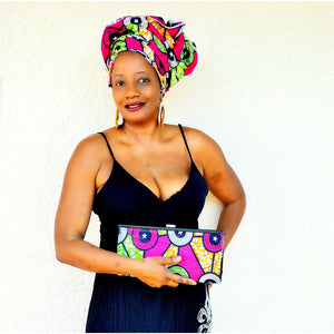 Pink Ankara Print Headwrap~  The CHACHA - Zabba Designs African Clothing Store