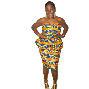 Strapless Orange And Gold AfricanTwo Piece Dress - Zabba Designs African Clothing Store  - 1