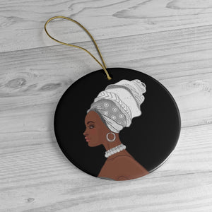 Melanin Queen White And Black Ceramic Ornaments - Zabba Designs African Clothing Store
