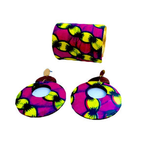 Pink African Print Wooden Earrings - Zabba Designs African Clothing Store