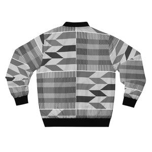 Master Black Kente African Print  Men's  Bomber Jacket - Zabba Designs African Clothing Store