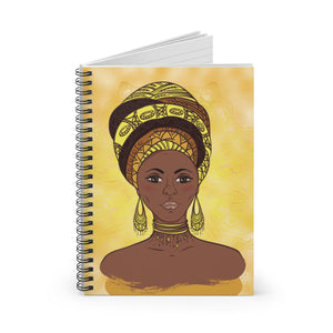 Sunflower African Queen Spiral Notebook - Ruled Line - Zabba Designs African Clothing Store
