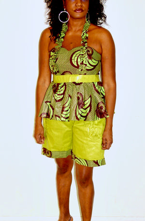 Ida African Inspired Green Pants And Top Set - Zabba Designs African Clothing Store