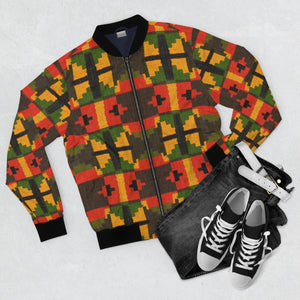 Accra Kente African Print  Men's  Bomber Jacket - Zabba Designs African Clothing Store
