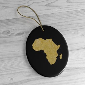 Gold Map Of Africa  Ceramic Ornaments