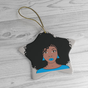 Miss Blue Afro Girl Ceramic Ornaments - Zabba Designs African Clothing Store