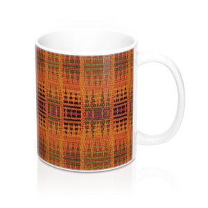 Orange Kente Print African Designer's  Coffee Mug