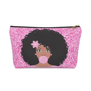Miss Pink Make up Pouch w T-bottom - Zabba Designs African Clothing Store