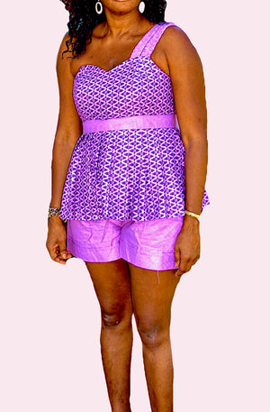 African Print One Shoulder Purple and Lilac Short Set - Zabba Designs African Clothing Store
