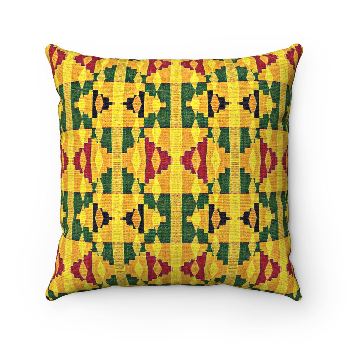Ari Yellow Kente Print Blue Square Pillow - Zabba Designs African Clothing Store