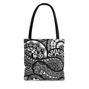 Black And White African Fabric Print Tote Bag - Zabba Designs African Clothing Store