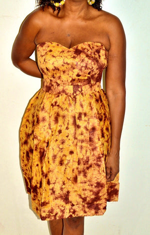 Sun flower African Tie Dye Dress - Zabba Designs African Clothing Store
