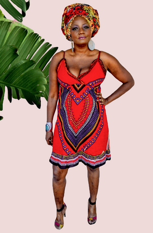 Knee Length Red Sleeveless Spaghetti Strap Dress - Zabba Designs African Clothing Store