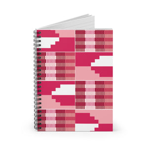 Red Kente Spiral Notebook - Ruled Line - Zabba Designs African Clothing Store
