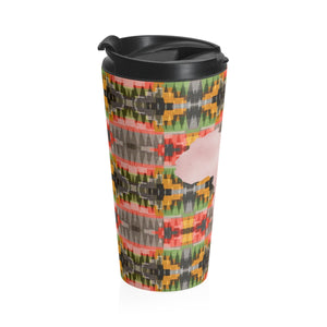 Pink and Green  Kente Print Stainless Steel Travel Mug - Zabba Designs African Clothing Store
