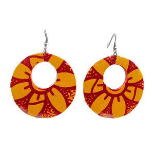 Orange African Print Hoop Earrings