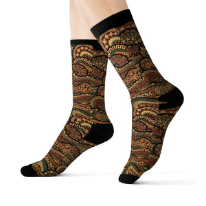 Brown Unisex African Print Socks - Zabba Designs African Clothing Store