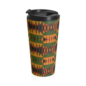 Kente Print Stainless Steel Travel Mug - Zabba Designs African Clothing Store