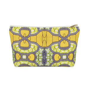 Yellow African InspiredPrint  Make up Pouch w T-bottom - Zabba Designs African Clothing Store