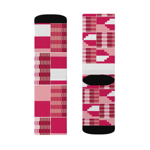Pink Unisex Kente African Print Socks - Zabba Designs African Clothing Store