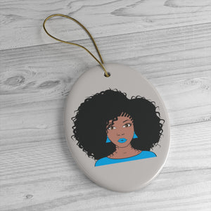 Miss Blue Afro Girl Ceramic Ornaments