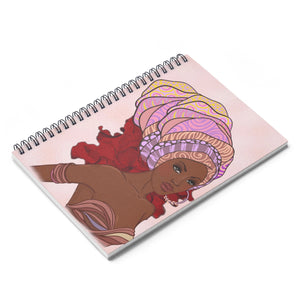 Pink Queen Headwrap Spiral Notebook - Ruled Line