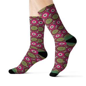 Missy Pink Unisex African Print Socks - Zabba Designs African Clothing Store