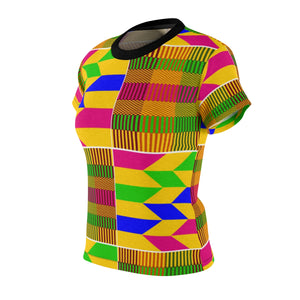 Cyna Kente Women's African Print Polyester  Tee - Zabba Designs African Clothing Store