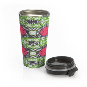 Designer Green African Print Stainless Steel Travel Mug - Zabba Designs African Clothing Store
